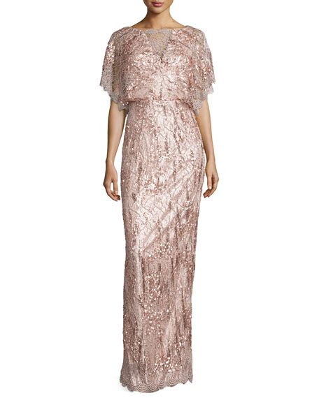 Wedding - Loma Embellished Dolman-Sleeve Gown, Oyster