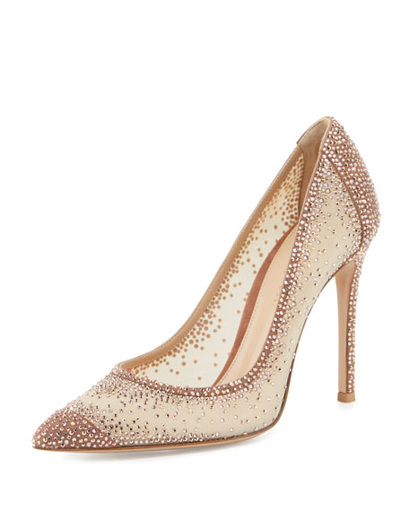 Wedding - Rania Crystal Illusion 105mm Pump, Nude