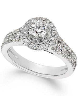 Mariage - X3 Certified Diamond Halo Engagement Ring in 18k White Gold (1-1/4 ct. t.w.)