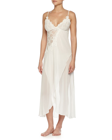 Mariage - Embroidered Mesh-Lace Long Gown, Ivory