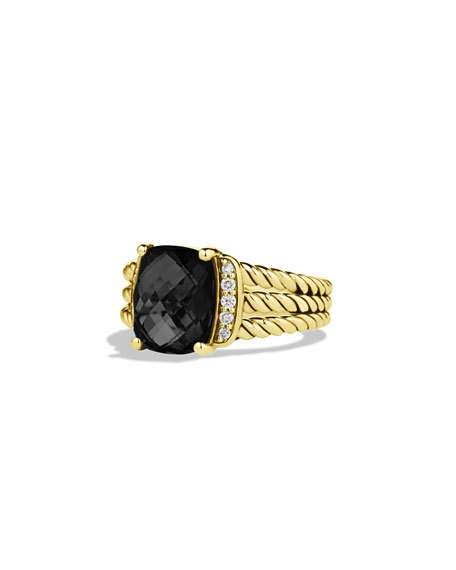 Wedding - Petite Wheaton Ring with Black Onyx and Diamonds in Gold