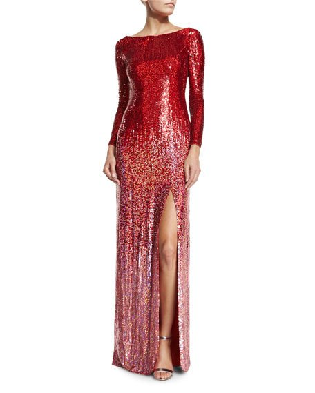 Wedding - Long-Sleeve Boat-Neck Ombre Sequined Gown, Tomette