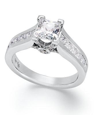 Mariage - Certified Princess-Cut Diamond Engagement Ring in 14k White Gold (1-1/2 ct. t.w.)