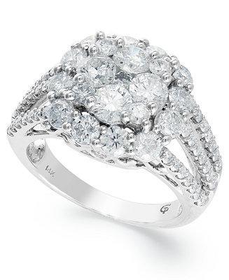 Hochzeit - Diamond Flower Ring in 14k White Gold (3 ct. t.w.)