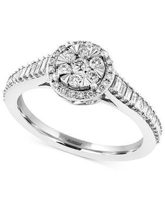 Hochzeit - EFFY Collection EFFY Diamond Halo Engagement Ring (5/8 ct. t.w.) in 14k White Gold