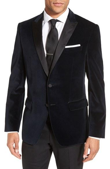 Hochzeit - BOSS 'Haimon' Trim Fit Velvet Dinner Jacket