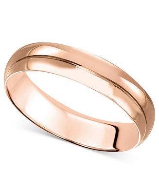 Mariage - 14k Rose Gold Ring, 4mm Wedding Band