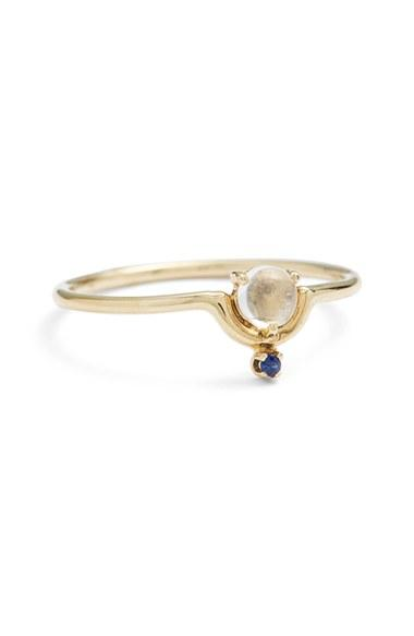 Wedding - WWAKE Nestled Moonstone & Sapphire Ring