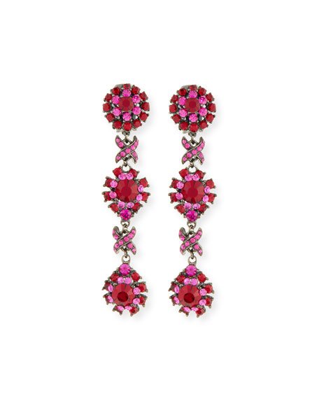 Свадьба - Linear Link Crystal Drop Earrings, Red