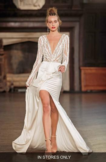Hochzeit - Berta Beaded Long Sleeve High/Low Gown (In Stores Only)