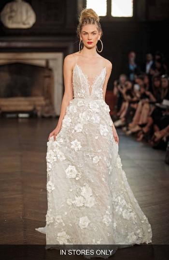 Hochzeit - Berta V-Neck Appliqué A-Line Gown (In Stores Only)