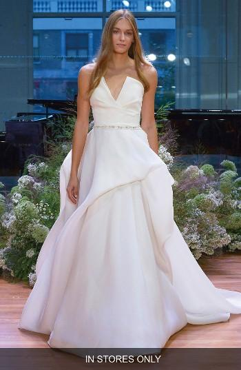 Hochzeit - Monique Lhuillier Emerson Strapless Notch Silk Gazar Ballgown (In Stores Only)
