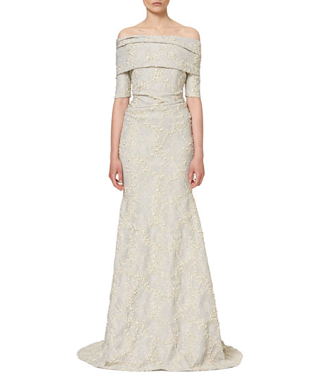 Свадьба - Textured Off-the-Shoulder Mermaid Gown, White Gold