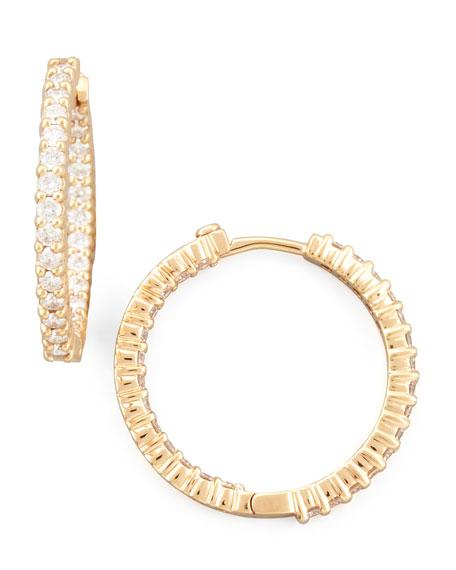 Rose Gold Diamond Huggie Hoop Earrings 1 53ct