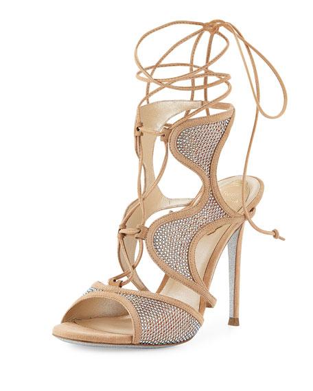 Свадьба - Crystal-Embellished Suede Ankle-Wrap Sandal, Beige/Topaz