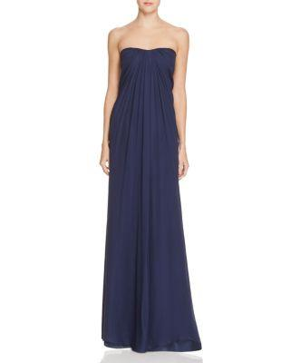 Düğün - Aidan Mattox Strapless Silk Chiffon Gown
