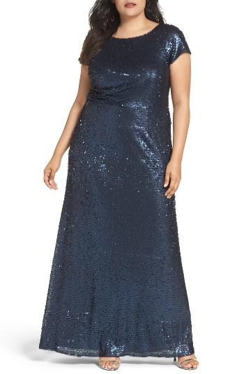Mariage - Adrianna Papell Sequin A-Line Gown (Plus Size)