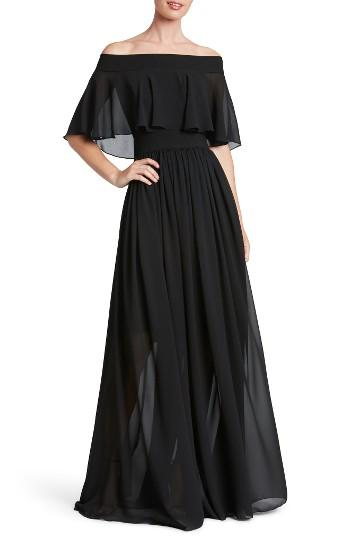 Mariage - Dress the Population Violet Off the Shoulder Chiffon Gown