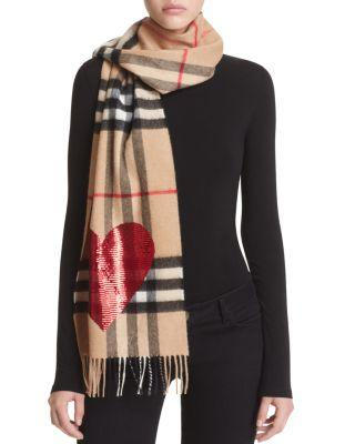 Mariage - Burberry Sequin Heart Giant Check Cashmere Scarf