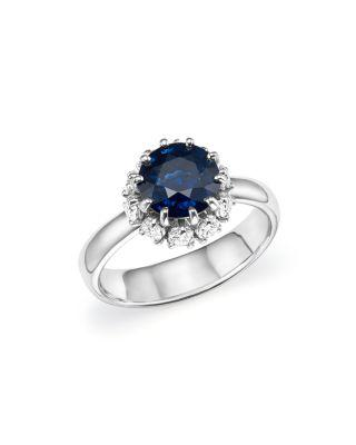 زفاف - Roberto Coin Platinum Sapphire and Diamond Halo Ring