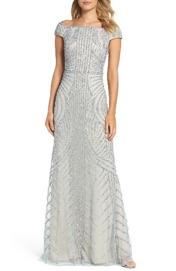 Wedding - Adrianna Papell Off the Shoulder Beaded Gown
