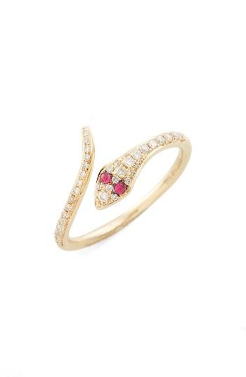 Mariage - EF COLLECTION Diamond & Ruby Snake Ring