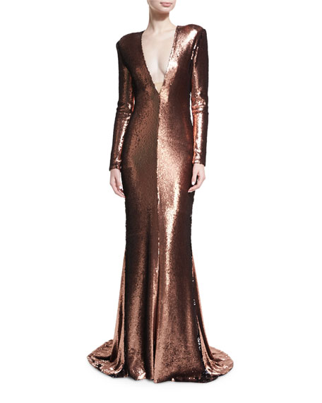 Wedding - Sequined Plunging V Column Gown