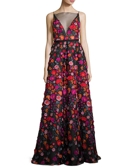 Wedding - Floral-Embroidered Illusion Ball Gown, Black Pattern