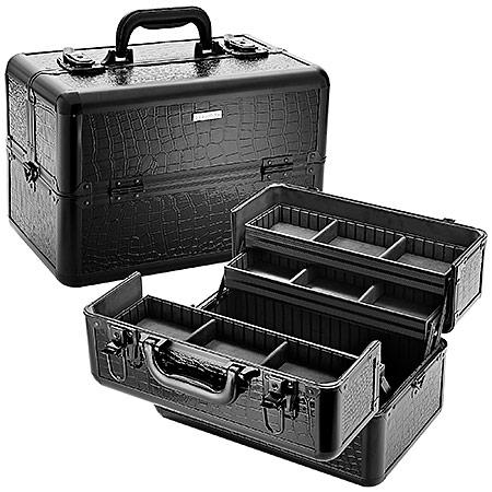 Свадьба - Embossed Traincase – Black Faux Croc
