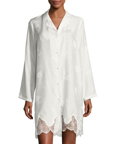 Boda - Orchid Paradis Long-Sleeve Satin Sleepshirt