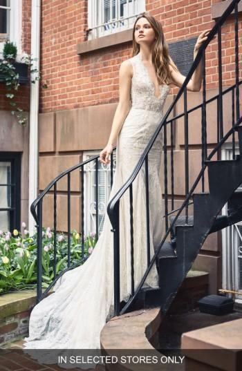 BLISS Monique Lhuillier Plunging Lace Trumpet Gown (In Selected ...