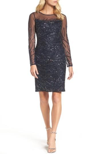 Wedding - Adrianna Papell Beaded Illusion Sheath Dress
