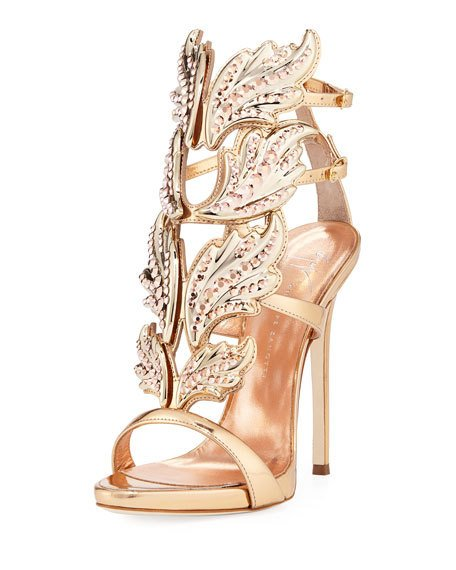 Mariage - Coline Wings Leather 110mm Sandal, Rose Gold