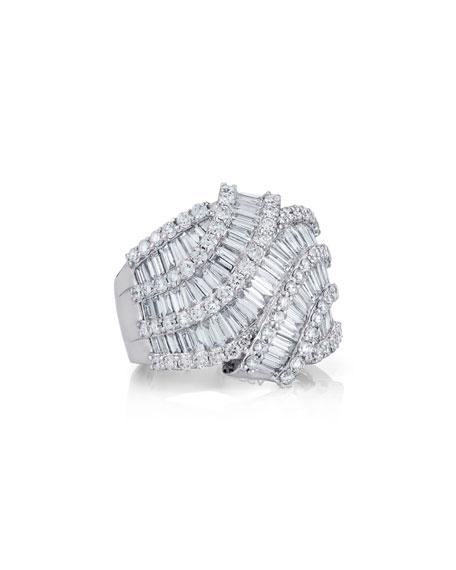 Boda - Multi-Row Baguette Diamond Ring, Size 6.5