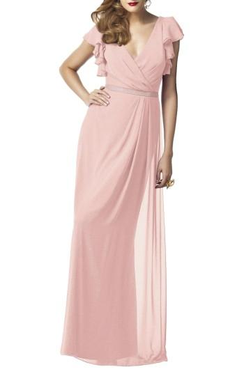 Wedding - Dessy Collection Sequin Flutter Sleeve Gown