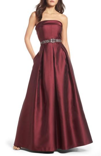 Wedding - Eliza J Embellished Belt Strapless Gown