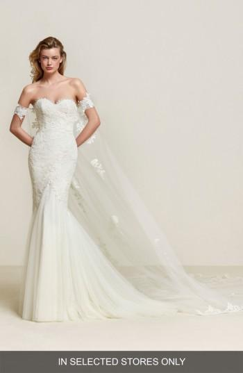 Wedding - Pronovias Drimea Strapless Mermaid Gown with Tulle Cape (In Selected Stores Only)