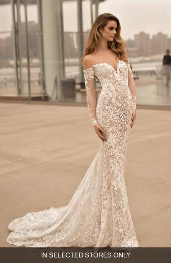 Mariage - Berta Long Sleeve Illusion Off the Shoulder Mermaid Gown (In Selected Stores Only)