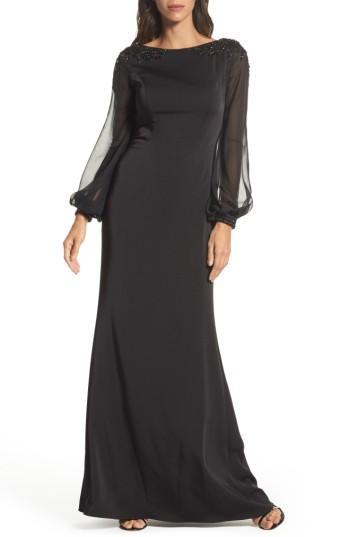 Wedding - La Femme Beaded Bubble Sleeve Gown
