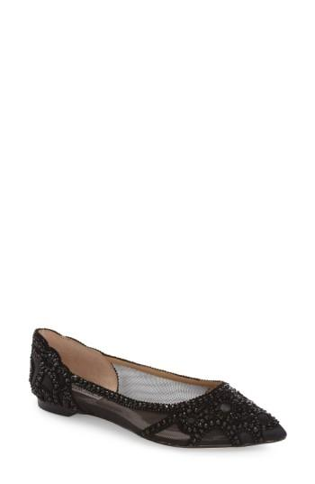 Boda - Badgley Mischka Gigi Crystal Pointy Toe Flat (Women)