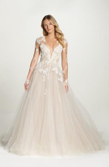 زفاف - Monique Lhuillier Rachelle Illusion Long Sleeve Princess Gown