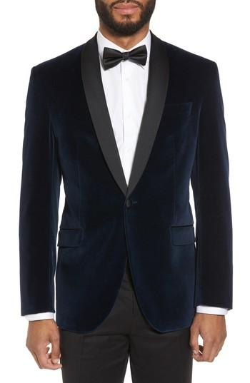 Wedding - Ted Baker London Josh Trim Fit Stretch Velvet Dinner Jacket