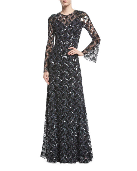 Mariage - Long-Sleeve Paillette-Embellished Gown