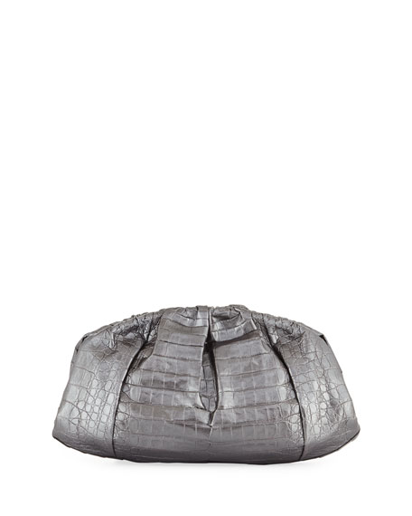 Nozze - Ruched Metallic Crocodile Clutch Bag