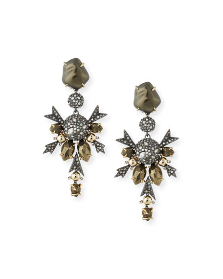 Wedding - Baroque Pearly Crystal Statement Clip-On Earrings