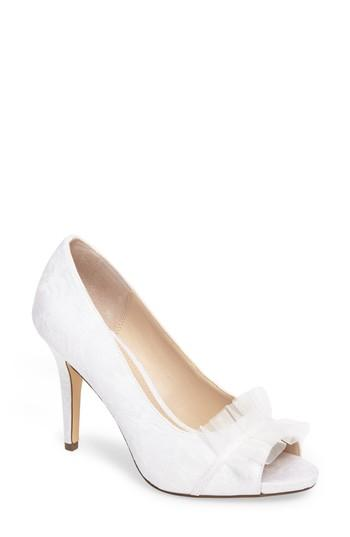 Wedding - Nina Raizel Ruffle Open Toe Pump (Women)