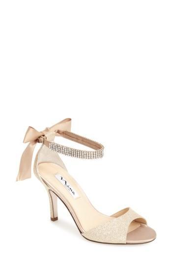 Свадьба - Nina 'Vinnie' Crystal Embellished Ankle Strap Sandal (Women)