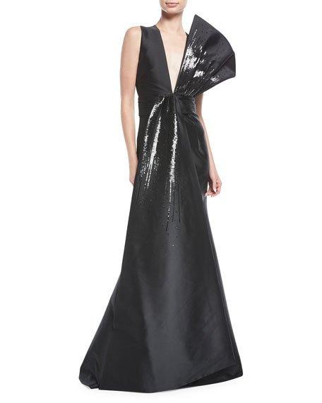 Hochzeit - Blanche Sequin Flounced V-Neck Gown