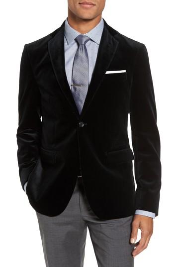 Свадьба - Strong Suit Noble Trim Fit Velvet Blazer