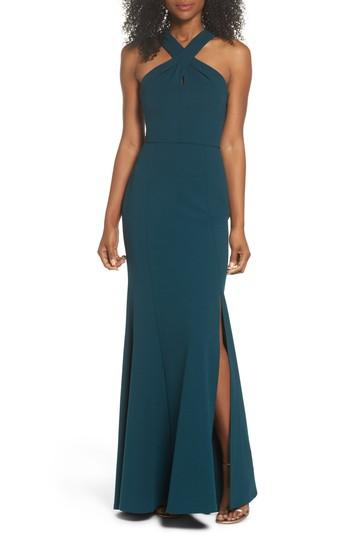 Wedding - Jenny Yoo Kayleigh Cross Front Crepe Knit Gown